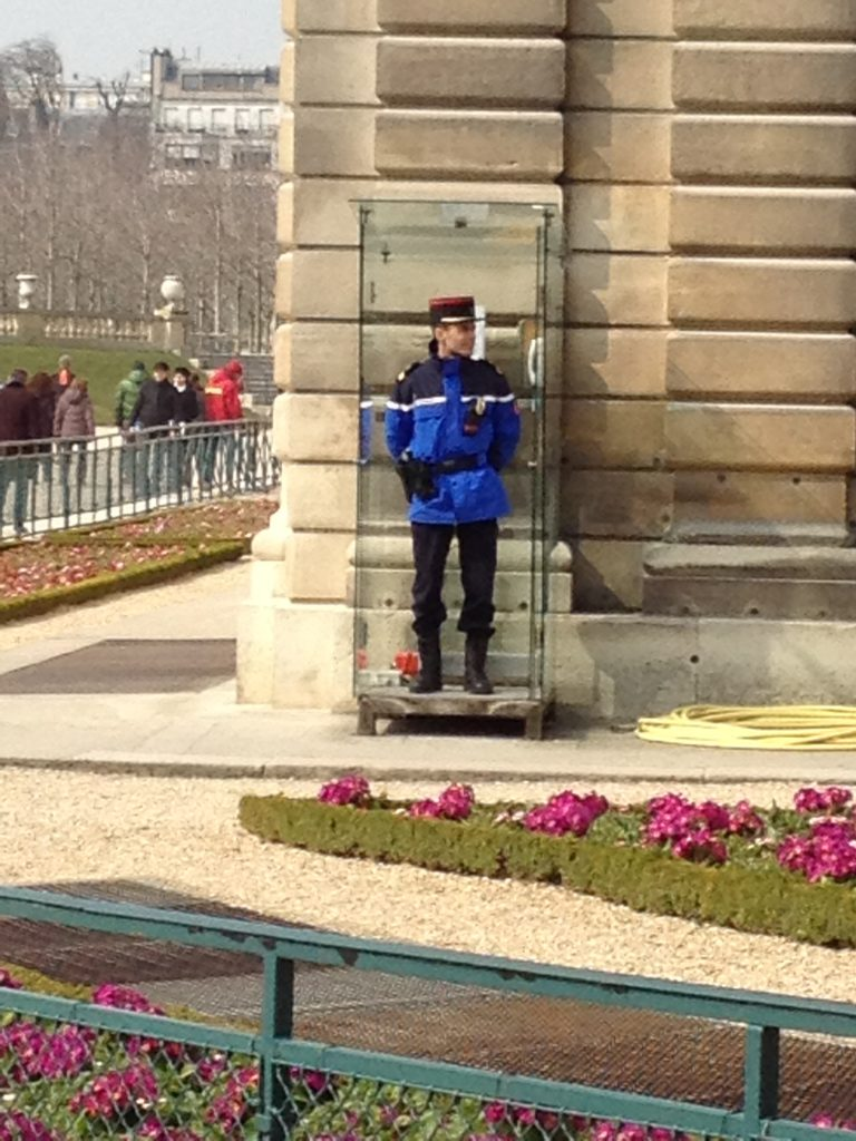 Handsome Parisian Gendarme in Le Jardin Luxembourg