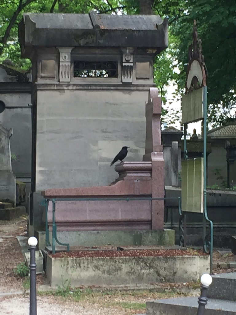 Just as we started up the path into the cemetery, this crow settled on top of this graveyard. Very Edgar Allen Poe-ish.